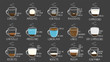 coffee types. Recipes, proportions. color chalk on vertical board. Vector illustration style.