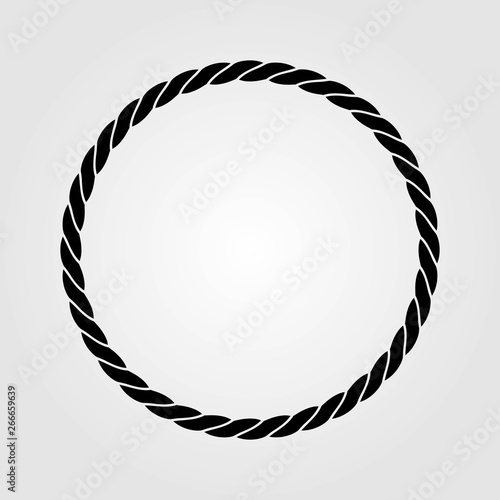 Round marine rope frame isolated on white background Wallpaper Mural