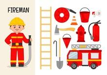 Vector Character Fireman. Illu...