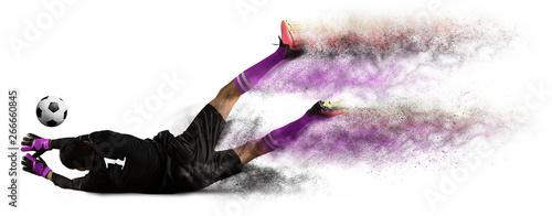 Leinwand Poster Soccer goalkeeper on white background