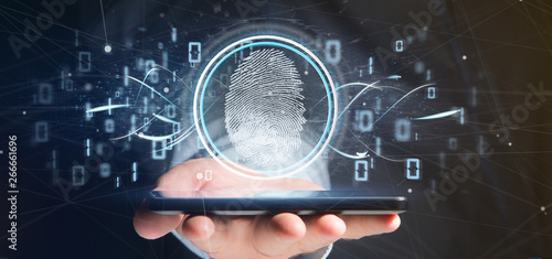 Businessman holding a Digital fingerprint identification and binary code 3d rendering