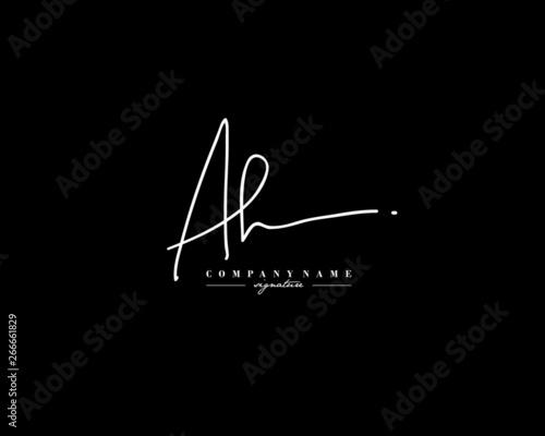 Fotografía  A H AH Signature initial logo template vector