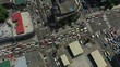 Makati, Manila, Philippines - February 10, 2019: aerial locked shot showing traffic at intersection