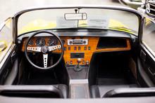 Interior Of The Classic Retro Vehicle  Antique Car