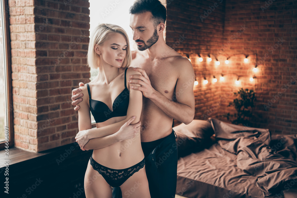 Fototapety, obrazy: Portrait of his he her she nice sweet attractive stunning gorgeous feminine lady cuddling masculine muscular macho guy enjoying time in loft brick industrial style interior room house indoors