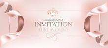 Invitation Card With Elegant Rose Ribbons. Vector Illustration