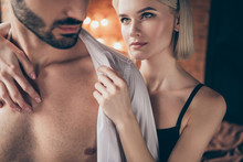Cropped Close Up Photo Two People Partners She Her Look Tender Lady Touch Hands He Him His Handsome Shoulders Taking Off Shirt Wife Husband Anniversary Morning Full Wish Want Eager House Room Indoors