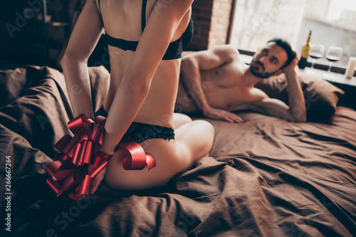 fototapeta na lodówkę Provocative experiment. Best birthday ever. Expensive escort brothel. Cropped closeup view photo of attractive horny naughty affectionate lady want to be slave have intercourse wear black lace boudoir