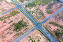 Empty Crossroads And Road, Perpendicular To The Drone From The Air