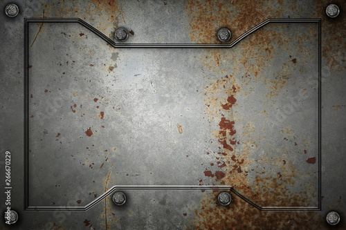 Photo  metal or concrete wall with metal frame for background and texture
