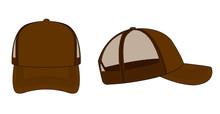 Trucker Cap / Mesh Cap Template Illustration (brown)