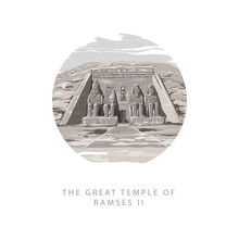 The Great Temple Of Ramses 2 At Abu Simbel, Egypt. Gray Tone Vector Illustration In Circular The Great Temple Of Ramses 2 Hand Drawn In White Background.
