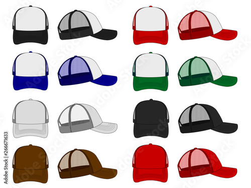 Fototapeta trucker cap / mesh cap template illustration set obraz