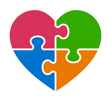 Heart Puzzle With 4 Pieces Or ...