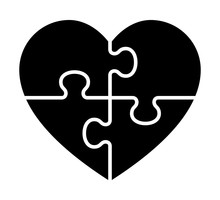 Heart Puzzle With 4 Pieces Or Solving Love Flat Vector Icon For Apps And Websites.