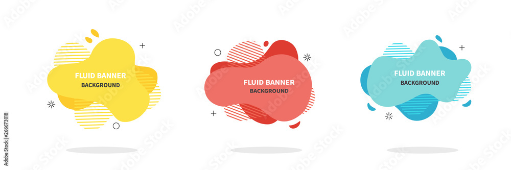 Fototapeta Bannners set. Modern Vector design. Flat geometric liquid shapes