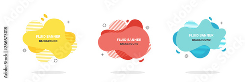 Bannners set. Modern Vector design. Flat geometric liquid shapes - 266673018