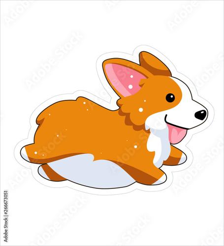 Dog Emoji Sticker Patch Vector Illustration Cartoon Corgi Welsh Corgi Cute Welsh Corgi Pembroke Cartoon Cute Dog Breed Welsh Corgi Flat Style Running Happy Dog Jumping Animal Buy This Stock Vector