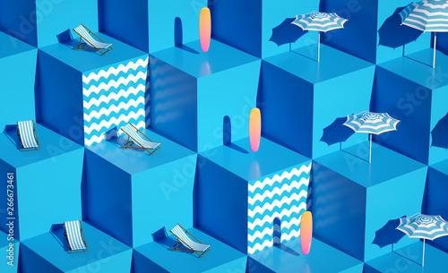 Cuadros en Lienzo 3d render Fresh still life holiday illustration Still life vacation composition