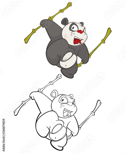 Fotobehang Babykamer Vector Illustration of a Cute Cartoon Character Panda for you Design and Computer Game. Coloring Book Outline Set
