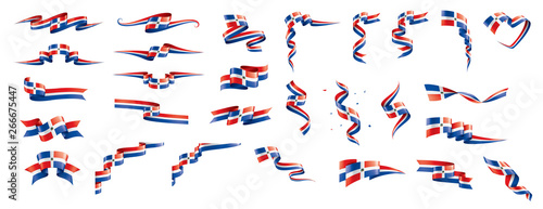 Cuadros en Lienzo Dominicana flag, vector illustration on a white background