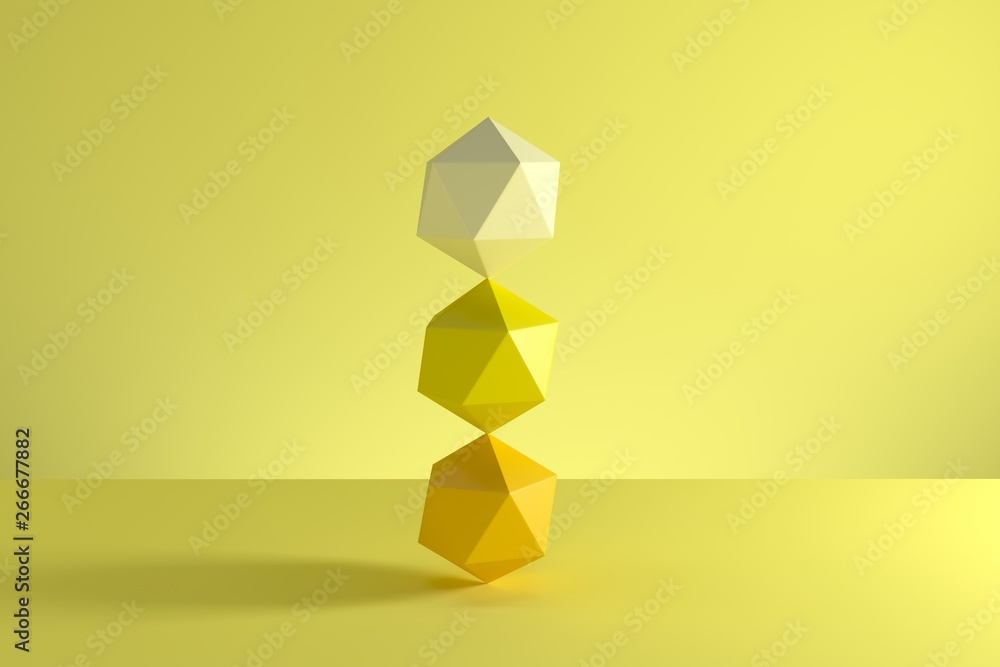 Fototapety, obrazy: Stack of GeoSphere in yellow monotone isolated on yellow background. Minimal concept idea. 3D Render.
