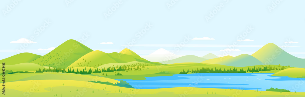 Fototapeta Big panorama of fields and meadows with spruce forest around mountain lake in valley, summer countryside with green hills and river, summer sunny glades illustration