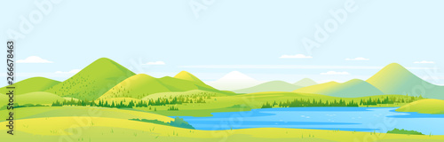 Fototapeta Big panorama of fields and meadows with spruce forest around mountain lake in valley, summer countryside with green hills and river, summer sunny glades illustration obraz
