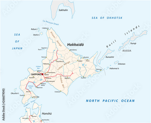 road map of japanese island hokkaido – kaufen Sie diese ...