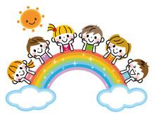 虹と子供たち