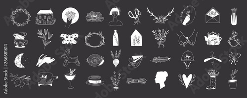 Various simple, elegant and bohemian icons Canvas Print