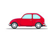 Retro red car. Flat style vector illustration isolated on white background