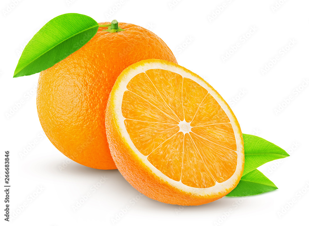 Fototapety, obrazy: one orange with leaf and half isolated on white background