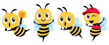 Cartoon Cute Bee Mascot Set Flat Design. Cartoon Cute Bee Showing Victory Sign, Holding A Honey Dipper And Wearing Cap. Flat Vector Illustration Isolated