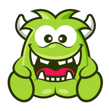 Cartoon Cute Green Monster With Horn Laughing. Halloween Vector Illustration