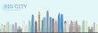 Flat vector city building design. Urban skyline cityscape. Town landscape with high skyscrapers. Vector illustration. EPS 10