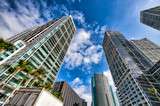 Upward street view of Downtown Miami skyscrapers on a beautiful sunny day, Florida - 266686299