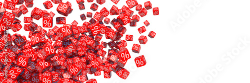 Fotomural  Exploding discount cubes with percent symbols