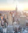 Skyline of Manhattan at dusk, New York City aerial view
