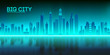 Retro background futuristic landscape 1980s style. Futuristic skyscraper city bay with reflection in water. Digital landscape cyber surface. Synth wave music album cover template city, space