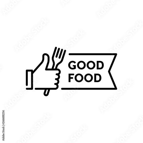 Fototapeta Vector Hand Like With Fork Icon Logo obraz