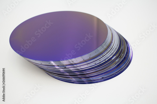 Leinwand Poster Silicon wafers of purple color in stock