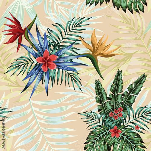 Fototapeta Tropical composition flowers leaves seamless pattern background obraz na płótnie