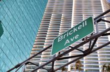 Brickell Avenue Road Sign In Downtown Miami