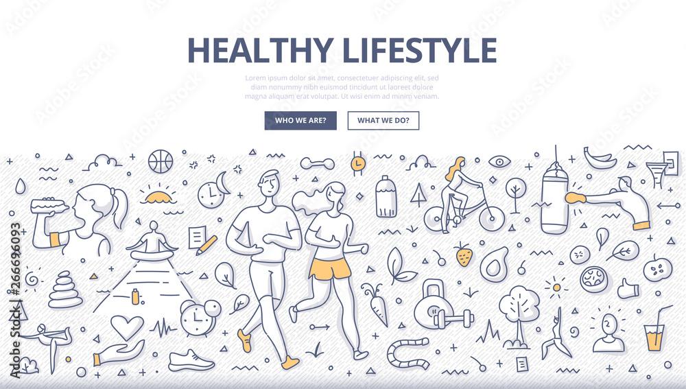 Fototapeta Healthy Lifestyle Doodle Concept