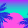 Silhouettes of palm trees on a gradient background with pink sun. Sintwave