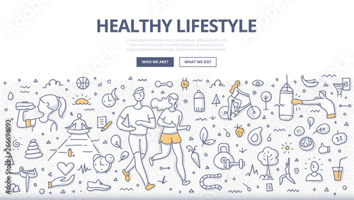 Obraz Healthy Lifestyle Doodle Concept - fototapety do salonu