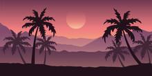 Beautiful Palm Tree Silhouette Landscape In Purple Colors Vector Illustration EPS10