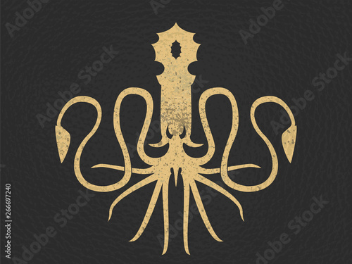 Cuadros en Lienzo  Template for logo, label and emblem with octopus silhouette