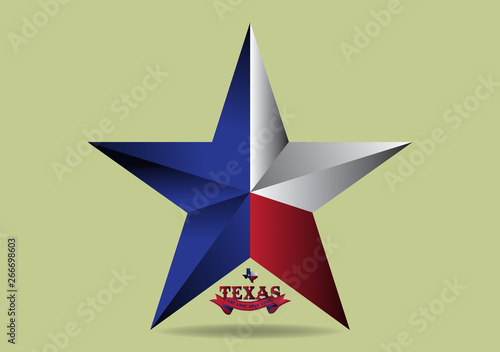 Photo  Texas Star with small map and nickname The Lone Star State